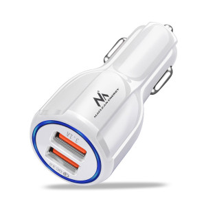 Maclean Energy nabíječka do auta QC 3.0 MCE478 B - bílá Qualcomm Quick Charge QC 3.0 - 5V / 3A, 9V / 1,8A, 12V / 1,6A